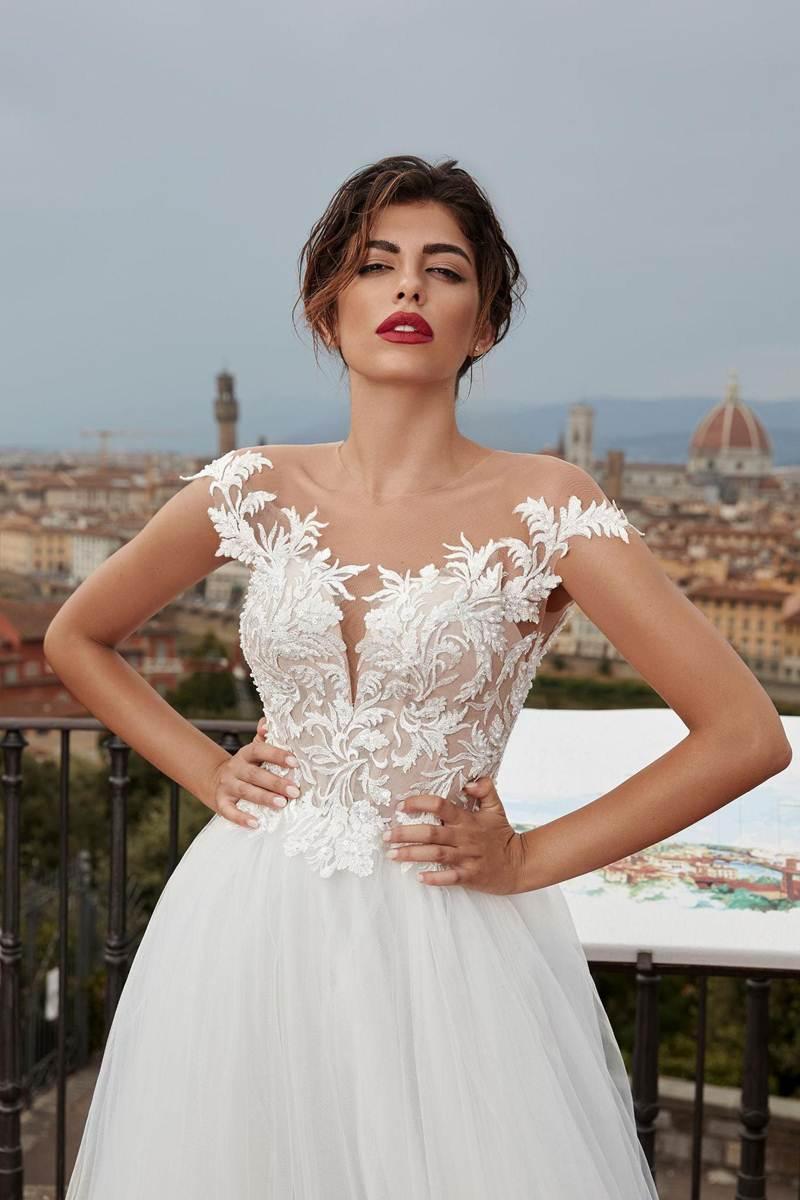 designer wedding dress with open shoulders