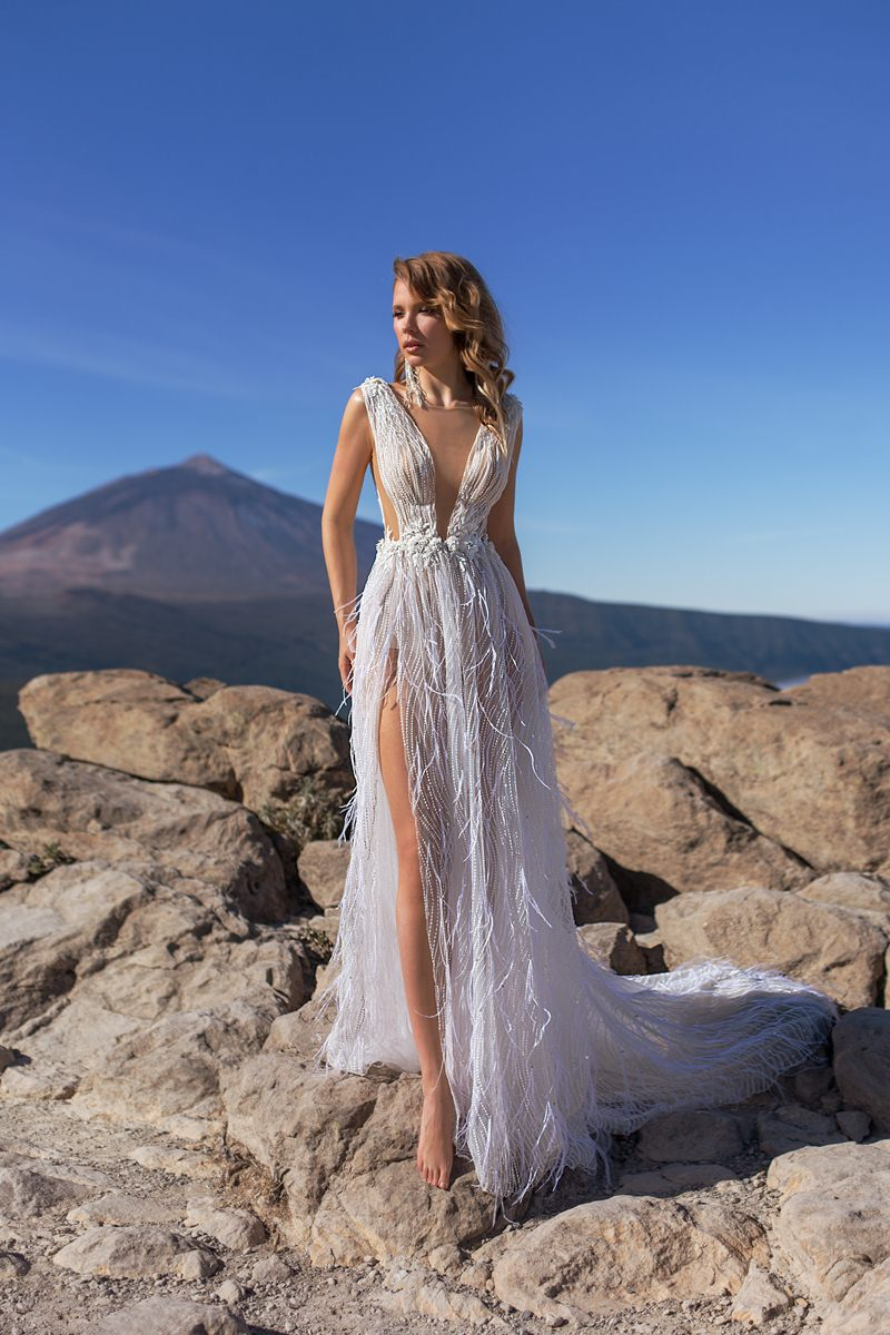 beach wedding dress with low back and slit