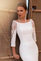 satin wedding dress with long sleeves