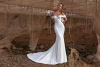satin mermaid off shoulders wedding dress w