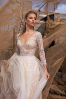 wedding dress with sparkly and long sleeves