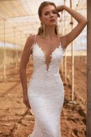 bridal dress with spaghetti streps and low back