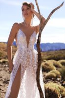 wedding dress with spaghetti streps and low back