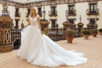 wedding dress ball gown with low back and long train