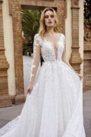 wedding gown with long sleeves