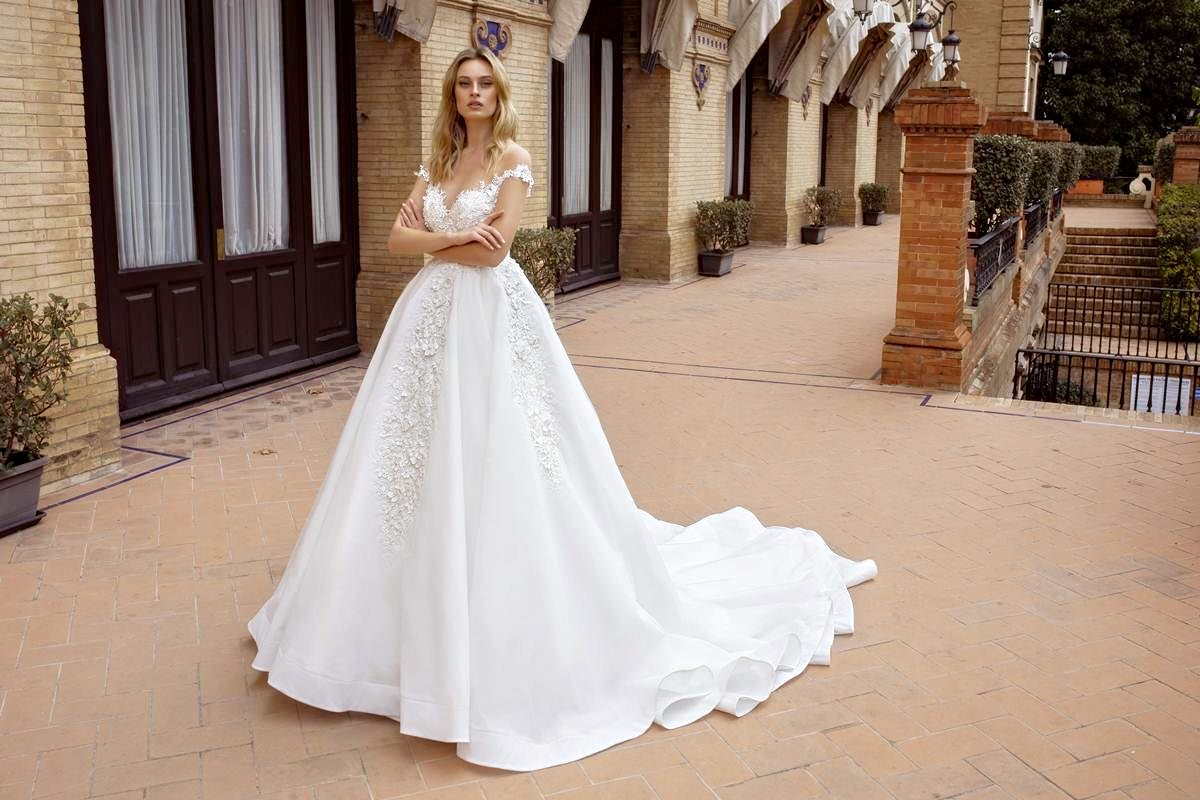 ball gown wedding dress with transparent back and long train