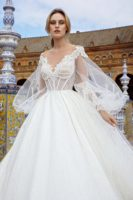 wedding dress ball gown with long sleeves
