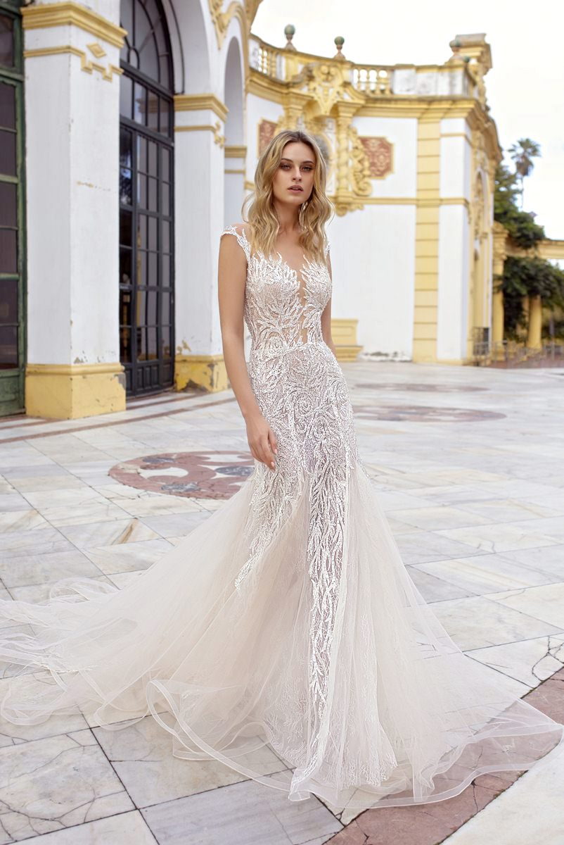 wedding dress with transparent