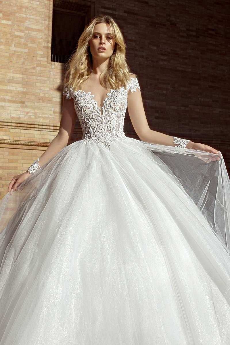 wedding dress with long sleeves and low back