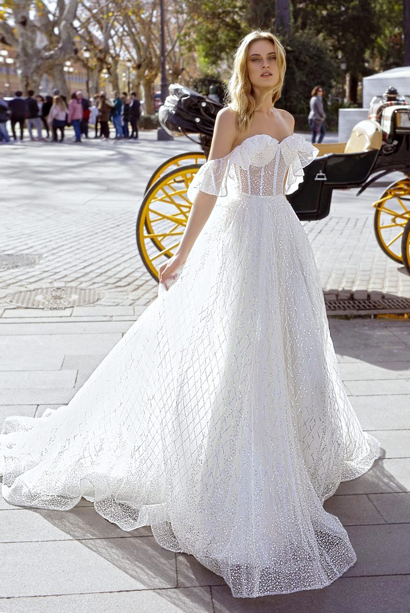 ball gown wedding dress with off shoulders
