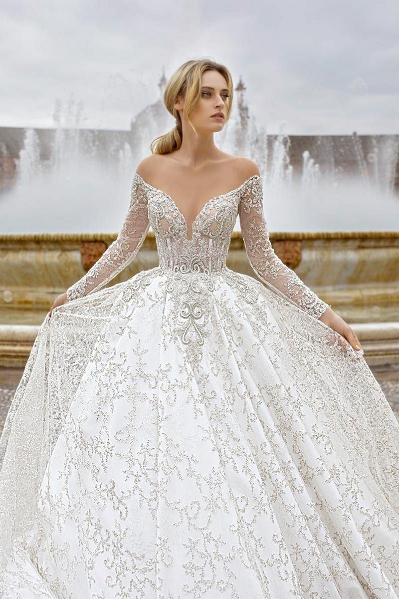 wedding dress ballgown with off shoulders and low back