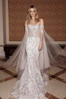sparkly strapless wedding dress with long train